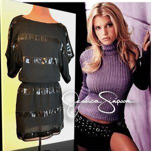 JESSICA SIMPSON Black Sequin Stripe Blouson Dress